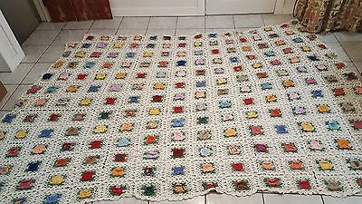 GORGEOUS Antique HAND CROCHETED ROSES Quilt/Coverlet ROSES!  92 x 100 Heirloom