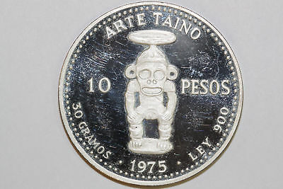 10 Pesos 1975 Dominican Republic 30 Grams 900 Fine Silver Proof Coin (NUM2955)