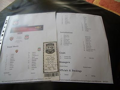 roma v liverpool 25/7/2012 team sheet + ticket