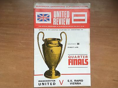 Manchester Utd v S.K. Rapid Vienna 1968-69 Euro Cup with Token, No writing.