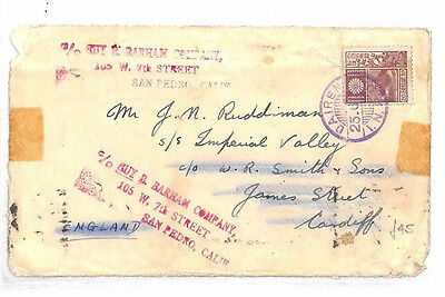 AR101 1938 CHINA Dairen Japanese occupation to GB/Returned/USA/Canada Cover