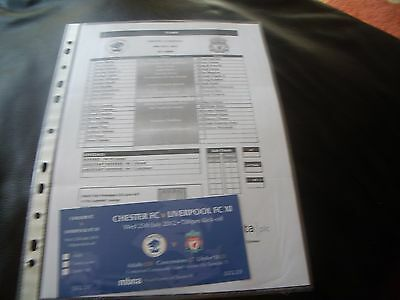 chester city v liverpool 25/7/2012 team sheet + ticket friendly