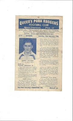QPR v Southend United South Cup Football Programme 1945/46