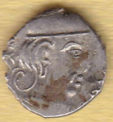 Ancient India 2000 Year Old Kshtrap King Potrait Silver Coin #t29