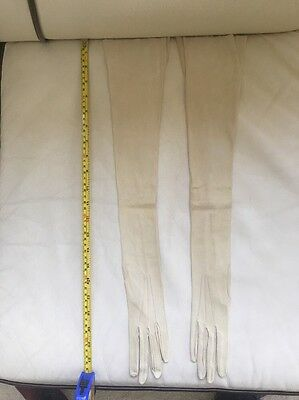 VINTAGE Very Long (22 Inch) 1920s Cream Ivory kid leather evening gloves Size 5?