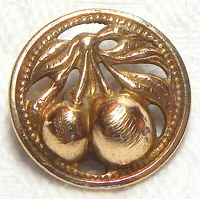 AWESOME ANTIQUE 19th CENTURY PIERCED GILT BRASS BUTTON w/CHERRY BRANCH IN RELIEF