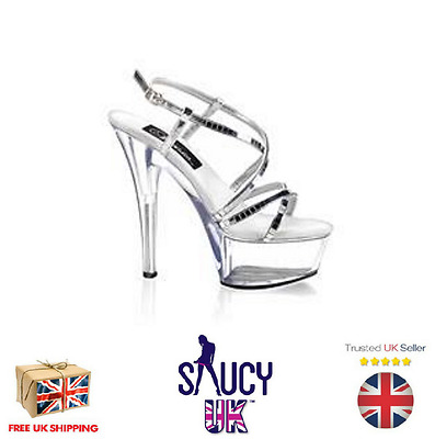 Isobelle Silver Platform Shoes - Stiletto - High Heels - 2 3 4 5 6 7 - UK Seller