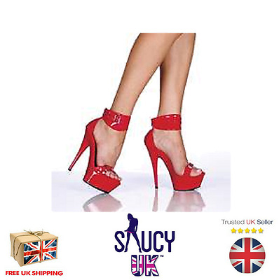 Scarlett Red Platform Shoes - Stilettos - 6 inch - 2 3 4 5 6 7 - UK Seller