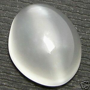 12x10mm OVAL CABOCHON-CUT NATURAL INDIAN WHITE CATS-EYE MOONSTONE GEM £1 NR!