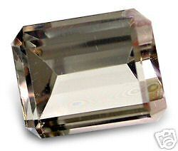 A PAIR OF 8x6mm OCTAGON-FACET NATURAL BRAZILIAN SMOKEY QUARTZ GEMSTONES £1 NR!