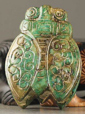 Old Chinese natural jade hand-carved statue of cicada pendant NO.X878