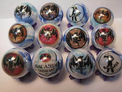 BACARDI RUM 5/8 size glass marbles COLLECTION LOT with stands