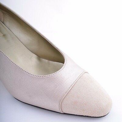 Pearlescent Pink Dream Shoes - Vintage Suede Heels, Size 5 / 38