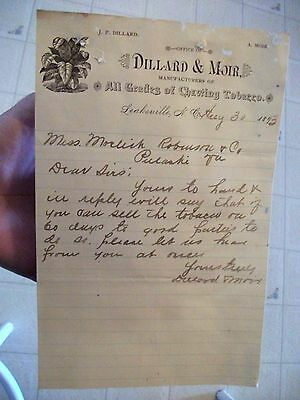 "Collectible 1893 Letter Head ""DILLARD & MOIR"" Chewing Tobacco-Leaksville,N.C."