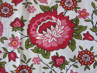 A Gorgeous Vintage French  Unlined Cotton Vibrant Arts And Crafts Chintz Curtain