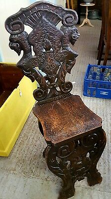 Carved Victorian Oak Green Man Shield Back Hall Throne Chair Antique Gothic