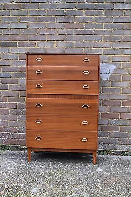 Mid century vintage retro 1960s 70s Lebus tallboy chest of drawers