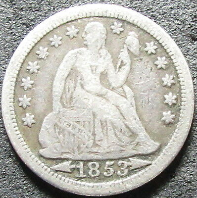 1853 Arrows Seated Liberty Dime Coin