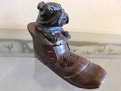 Antique Hand Carved Wood German Black Forest Bulldog Inkwell