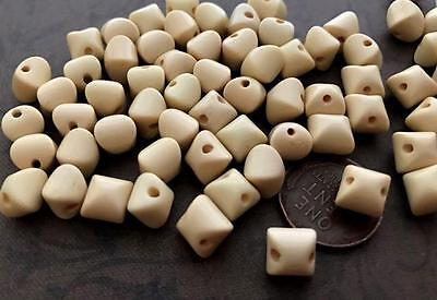 Vintage 7mm Ivory Lucite Rounded Cube Beads 24