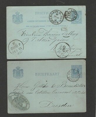 Netherlands 1884-91 lot of 2 postal cards with nice markings