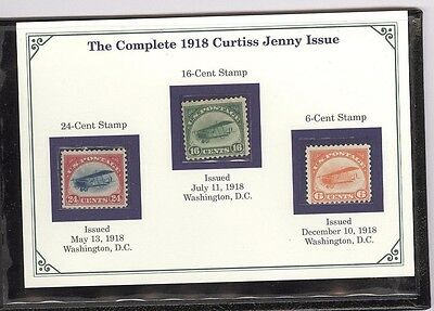 US, C1-C3, 1918 Curtiss Jenny Issue, Mint Stamps in a specialty folio by PCS
