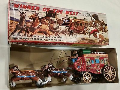 ALPS Winner of the west Stage Coach Battery operated tin toy ORIGINAL BOX 1950s