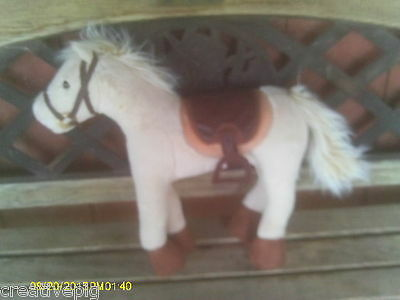 "18"" Tall Plush Light Palomino or Cream Colored Horse Pony with Saddle & Bridle"