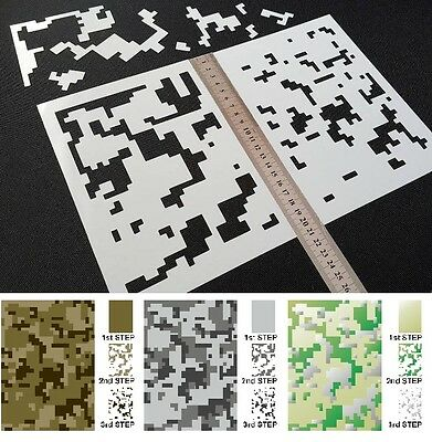 #S DIGITAL CAMOUFLAGE Camo Pattern Airbrush Stencils Vehicle Bike Army Arm