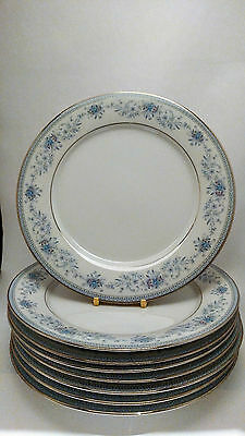 "Noritake Blue Hill 2482 Set of EIGHT 10 5/8"" Dinner Plates"