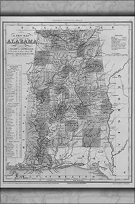 1841 AL ALABAMA MAP Morris Chapel Mountain Brook Muscle Shoals Northport LARGE