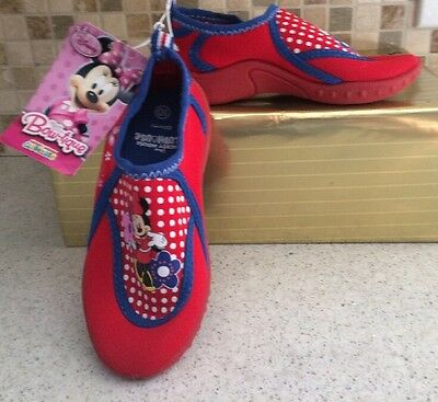 Disney MINNIE MOUSE BOW-TIQUE Girls Size 9 Stretchy Slip On Beach Swim Shoes NEW