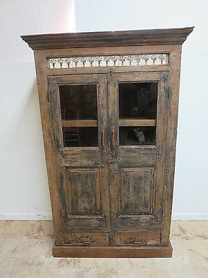 Antique Primitive Indian Architectural Salvage China Cabinet Cupboard R