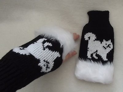 CAT WHITE on NEW knitted adult size FINGERLESS GLOVES with fur trim