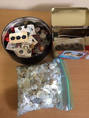 Vtg and New Buttons Assortment Metal Plastic Cloth in Various Shapes Sizes Color