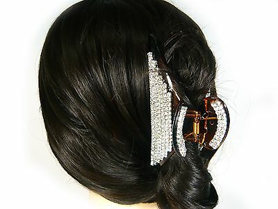 Bling Big Large Rhinestone Crystal Brown Plastic Hair Claw Jaw Clip Clamp Pin