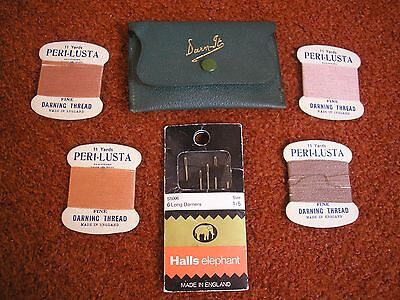 Vintage Leather 'Darn-It' Wallet With Vintage Thread & Needles