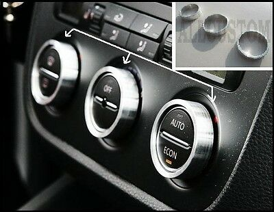 SILVER ALU RINGS AIR VENT BUTTONS CLIMATRONIC SURROUND for VW SCIROCCO 2008-2014