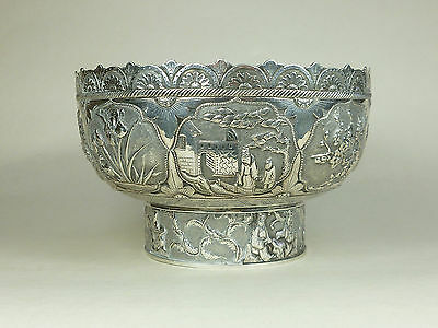 Antique Chinese 19th Century Large Wang Hing Solid Silver Bowl FANTASTIC