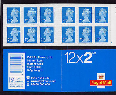 2016 ME6 ROYAL MAIL 12x2nd M16L  CYLINDER W6 W1 pW3 SELF ADHESIVE BOOKLET