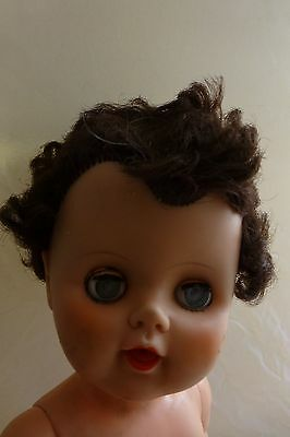 """EEGEE  1960's Brown Hair Green eyes Drink And Wet 14"""" Baby Doll"""