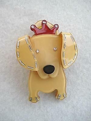 Quirky & Cute Banana Yellow Lucite? & Crystal Dog Brooch