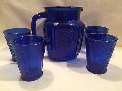 Cobalt Water Pitcher & Tumblers   New Itew