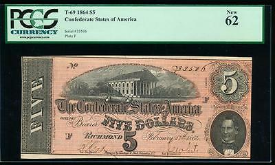 AC T-69 $5 1864 Confederate Currency CSA PCGS 62 uncirculated