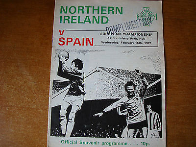 NORTHERN IRELAND V SPAIN FEB 1972 @ hULL