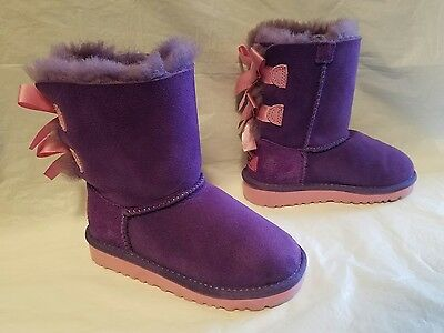 Kids Uggs Australia Bailey Bow boots size 10 purple and pink