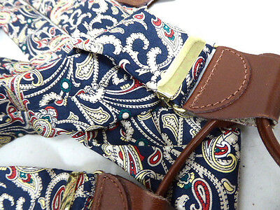 Navy Blue Silk Paisley + Leather Braces Suspenders One Size Adjustable Excellent