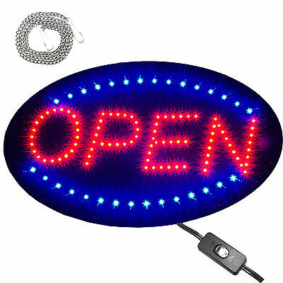 """Large 23x14"""" Bright Animated Oval Open Mart Shop LED Store Sign Display neon"""
