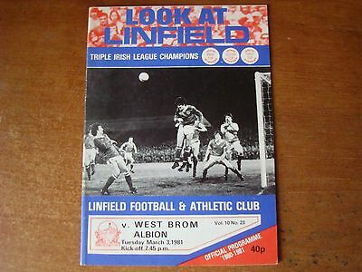 Linfield V West Bromwich Albion Mar 1981
