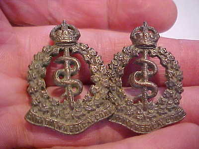 two original ww1 cef collar badges brass canadian army medical corps